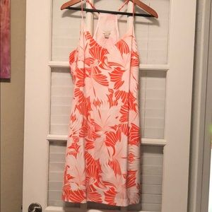 J. Crew tropical dress size 6 orange and white